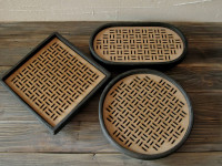 raku e wood tray collection DGsign Pottery