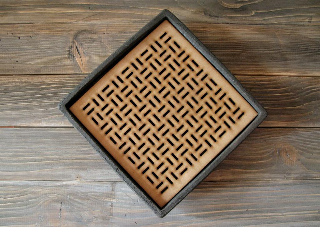raku and wood square tray DGsign Pottery
