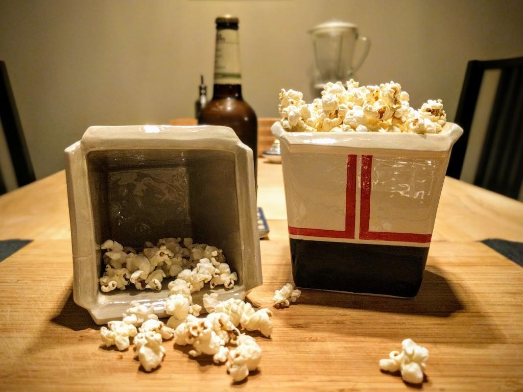 ceramic popcorn box hand decorated